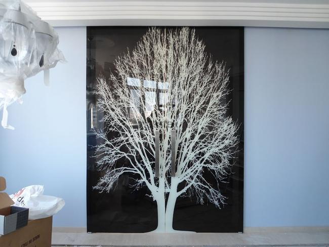 двери из стекла с рисунком